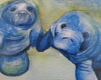 """5 x 7 Digital Print of Original Watercolor Painting: """"Manatee Love"""""""