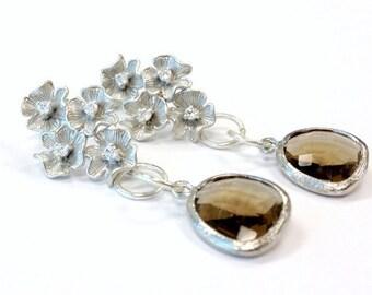 Brown Earrings - Silver Jewelry - Smoky Topaz Glass Jewellery - Rhodium Plated Flower Crystal Studs - Fashion - Trendy - Glam ER-TBM