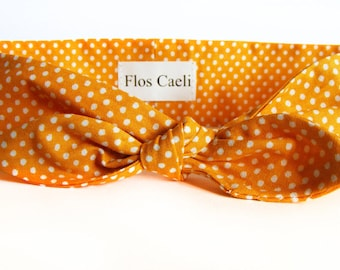 Mustard Yellow Polka Dot Headband - Hair Scarfs - Retro Headbands - Hair Accessories