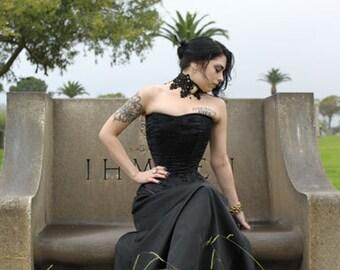 Lolita Steel Boned Gothic Victorian Edwardian  Brocade Black Corset Custom Coutil FREE SHIPPING