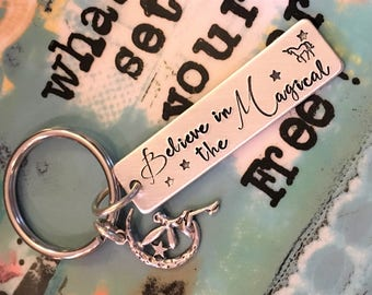 Believe in the Magical Handstamped Keychain