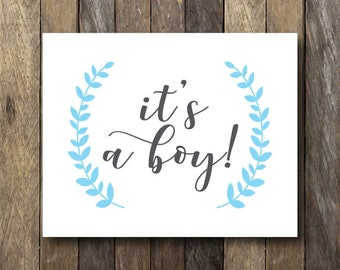 It's a Boy Sign - Instant Download Printable - Gender Reveal Photo Prop - It's a Boy Printable - Gender Reveal Sign