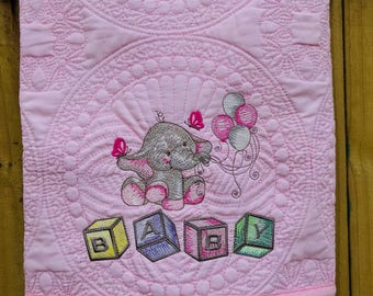 Baby Girl Elephant Heirloom Quilt, Personalize with child's, Pink, Soft Pink, Baby Elephant, Embroidered Quilt