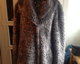 David emanuel faux fur grey coat new size 18