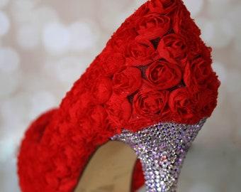 Wedding Shoes, Red Rose Wedding Shoes, Rosette Shoes, Red Wedding Shoes, Custom Wedding Shoes, Red Rose Shoes, Bridal Heels, Crystal Heels