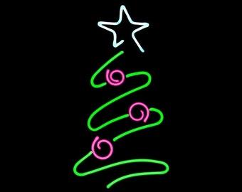 Neon Christmas Tree Freestanding Tabletop Holiday Xmas Art Yule Santa Sculpture