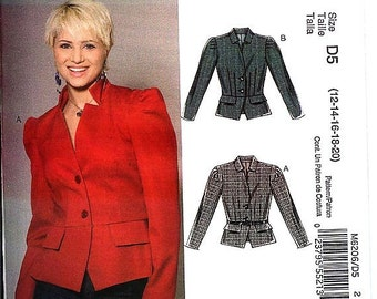 McCall's# M6206 Misses' Sz 6-12 Misses'/Misses Petite Fitted Lined jacket with Peplum  Uncut Factory Folded