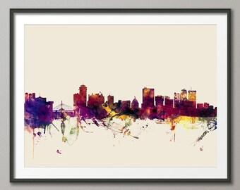 Winnipeg Skyline, Manitoba Canada Cityscape Art Print (2753)
