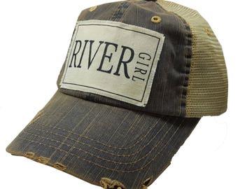 "Womens Baseball Hat, Womens Baseball Caps, Womens hats, Womens Caps, Trucker Cap, ""River Girl"" Trucker Hat, Ladies Trucker Hat, Hats, Cute"