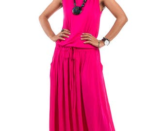 Pink dress, maxi dress, sleeveless dress, summer dress, long pink dress, Plus Size dress : Autumn Thrills Collection No.9