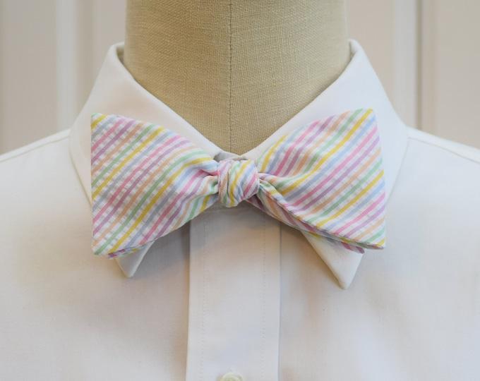 Men's Bow Tie, pastel seersucker stripes, wedding bow tie, groom's wear, groomsmen gift, pastel bow tie, wedding accessory, self tie bow tie