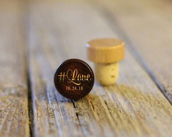 BEST PRICE ** Lot of Personalized Custom Wine Stopper, Laser Engraved Cork Bottle Topper, Reusable Rustic Wedding Favor --WS-dg-#Love