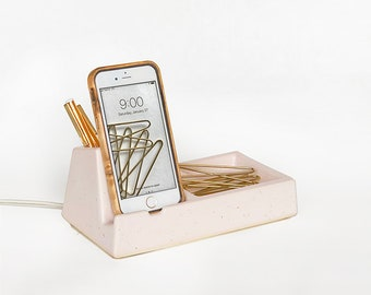STAK Phone Dock Valet, Pale Pink Speckle