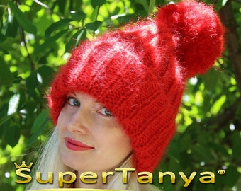 Made to order hand knit hat, thick and fuzzy mohair cap in Christmas red by SuperTanya