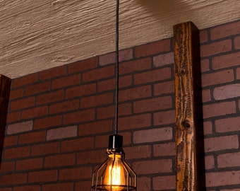 Industrial lighting, Kitchen Light, Industrial Chandelier, Black With Reclaimed Wood and 1 Pendants. R-66-BC-1