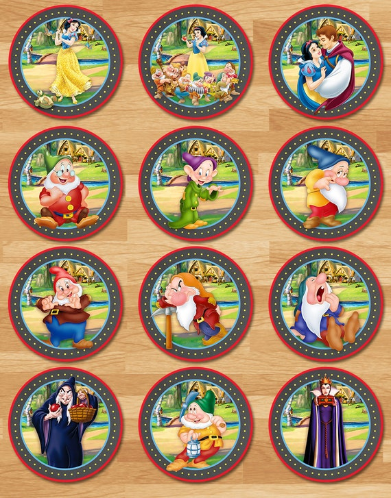 Snow White Cupcake Toppers - Chalkboard - Snow White and 7 Dwarfs Cucpake Toppers - Princess Printables - Snow White Birthday Party Favors