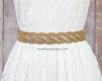 Gold Metallic Lace with Satin Ribbon Sash , Bridal Sash, Bridesmaid Sash, Flower Girl Gold Sash Belt,GSH-31