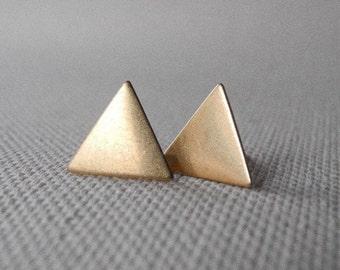 Triangle Stud Earrings, Autumn Jewelry, Geometric Earring Studs, Minimal Earrings, Brass Jewelry, Sterling Silver Hypoallergenic Earrings