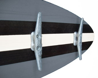 3 Ft Gray and Dark Walnut Surfboard Coat Rack with 5 Boat Cleats
