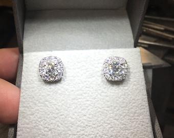 Diamond Halo Earrings, White Gold Earrings, 0.5 - 1.5 Carat Earrings, Luxury Earrings, 14k White Gold Diamond Earrings FREE SHIPPING