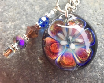Glass Flower Pendant Boro Lily Lampwork Not What it Seems