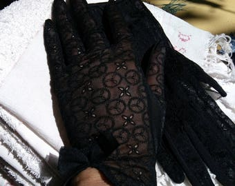 Vintage Lacy Sheer Black Gloves with Bow French Nylon Gloves Medium 7/7.5 #sophieladydeparis