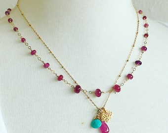 Pink Sapphire Linked Necklace