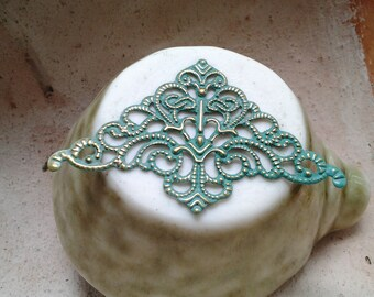 Handpainted Verdigris Patina Triangle Filigree Charms (18002) - 51x32mm