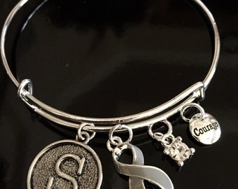 Initial Charm Bracelet / Gray Grey Ribbon Charm / Brain Cancer, Brain Tumor Awareness, Type 1 and 2 Diabetes Survivor, Aphasia Awareness