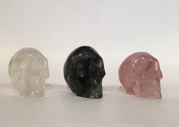 Assorted Healing Crystal Skulls// Healing Gemstones// Home Decor// Healing Tools// Hand Carved Skulls// Crystal Skull// Healing Crystals