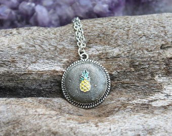 Pineapple Necklace - Tropical Style - Crushed Pyrite Jewelry - Hawaii Pineapple Jewelry for Summer - Island Jewelry - Cute Mermaid Necklace