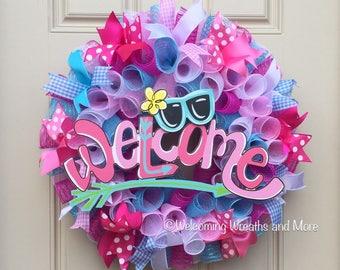 Welcome Wreath, Summer Deco Mesh Wreath, Summer Welcome Wreath, Spring Wreath, Colorful Deco Mesh Wreath