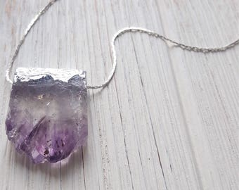Amethyst Crystal Necklace Boho Crystal Necklace Statment Necklace Crystal  February Birthstone Necklace Boho Chic Crystal Jewelry Dynamo