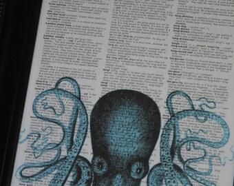 "Dictionary Art Print Octopus Art Print Octopus Dictionary Print Upcycled Dictionary Print ""Peek-a-boo Octopus 1"" HHP Original"