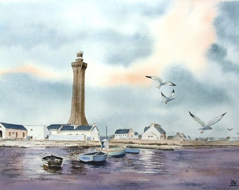 Original watercolor, painting of sea, seascape, brittany