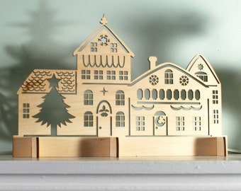Scène de laser Cut rustique bois Village de Noël, décoration de vacances