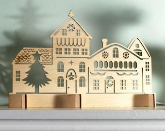Laser Cut Rustic Wood Christmas Village Scene, Holiday Decoration