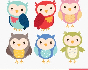 Owl Clip art, Owls Digital Owl clipart, Scrapbook Supplies, cute, sweet, pink, purple, green, red - Commercial & Personal - Instant Download