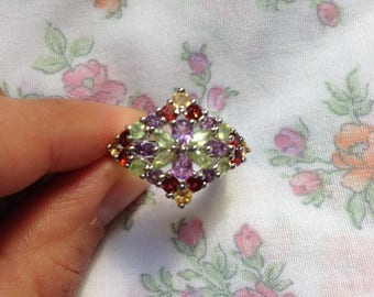 Ring in silver and semi-precious stones party