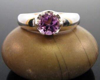 february birthstone, Amethyst Ring, amethyst ring sterling silver, genuine amethyst ring ring amethyst size 7 silver ring 8 mm