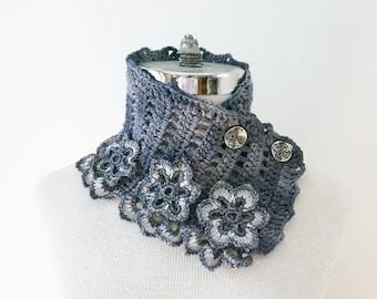 Floral Elegance Scarf, Gray scarf, Collar scarf, cowl scarf, Dark Gray merino, floral scarf, SPECIAL EDITION, ready to ship, Woman's Scarf,