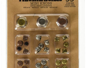 Prima Finnabair MECHANICALS MINI KNOBS Metal Embellishments - 33 Pieces #963385