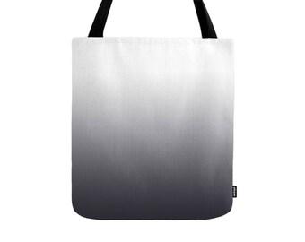 Gradient tote bag black gradient bag black ombre tote bag black ombre bag black and white bag black and white tote bag gift for her