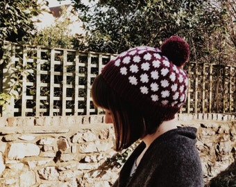 Polka Face Dot Hat Knitting Pattern PDF, Women's and Men's Beanie, Spotty Bobble Hat