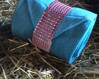 Turquoise Polos with Pink Bling Straps (Choose any color Bling)