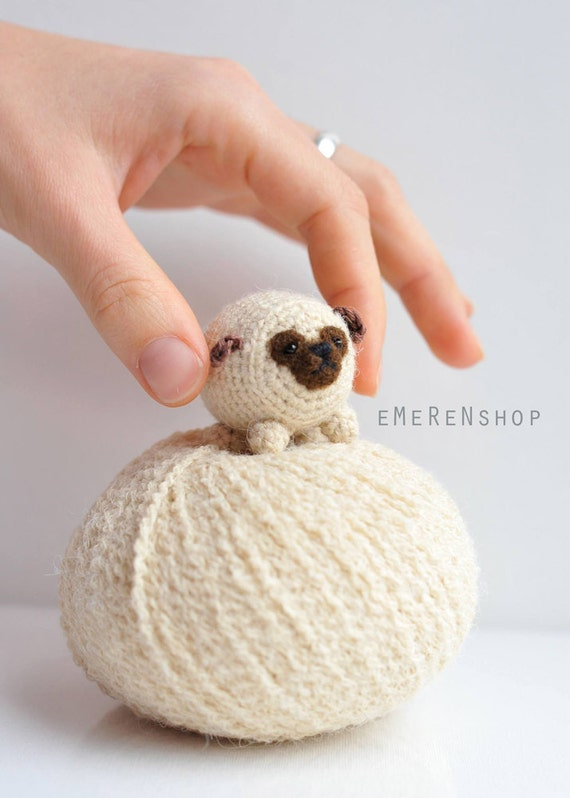 Cachorro Pug Pug lindo-Amigurumi perrito Kawaii Crochet
