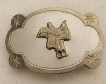 Vintage Horse Saddle Belt Buckle - western wear - Nickel Plated - cowboy fashion