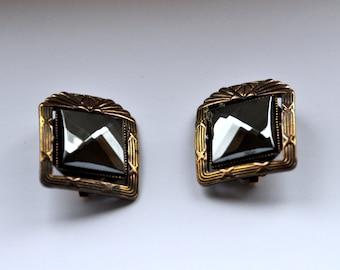 Vintage Ermani Bulatti Earclips - Dutch Designer Earrings - Bronze Clip Ons with Faceted Hematite - Art Deco Revival