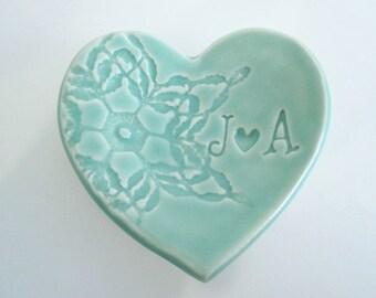 Engagement ring holder, engagement gift, mint green ring dish, Wedding ring holder, heart shaped ring holder, Made to Order