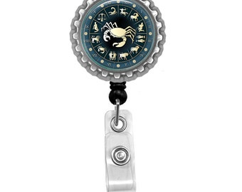 Zodiac Sign Cancer Photo Glass / Bottle Cap Retractable ID Badge Reel, Nurse Badge Reel